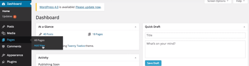 Creating a page in WordPress