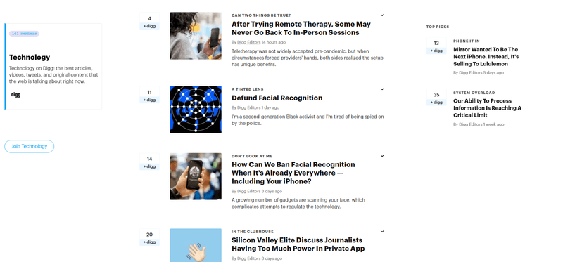 Digg Technology Page