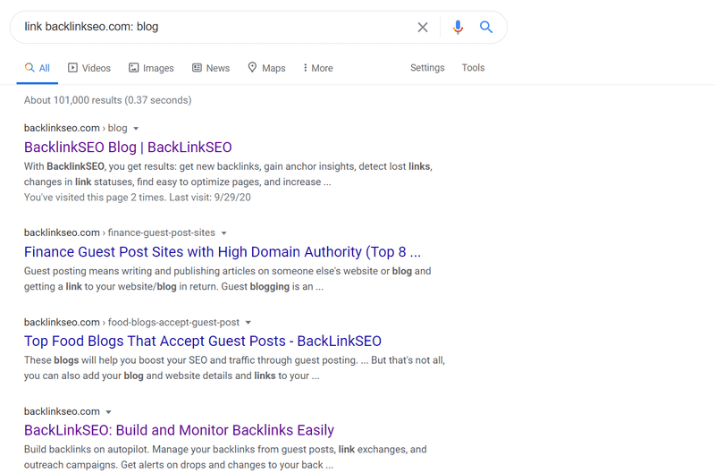 "Google search results for ""link backlinkseo.com: blog"""