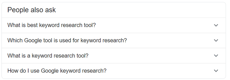 "Search for keywords on the ""People also ask"" sections"