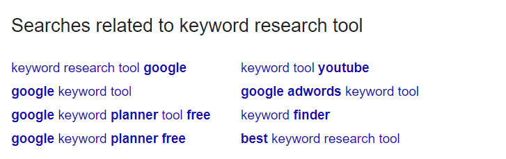 "Search for keywords on the ""Related Searches"" sections"