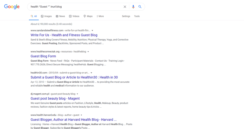 "Google search results for 'health ""Guest *"" inurl:blog'"